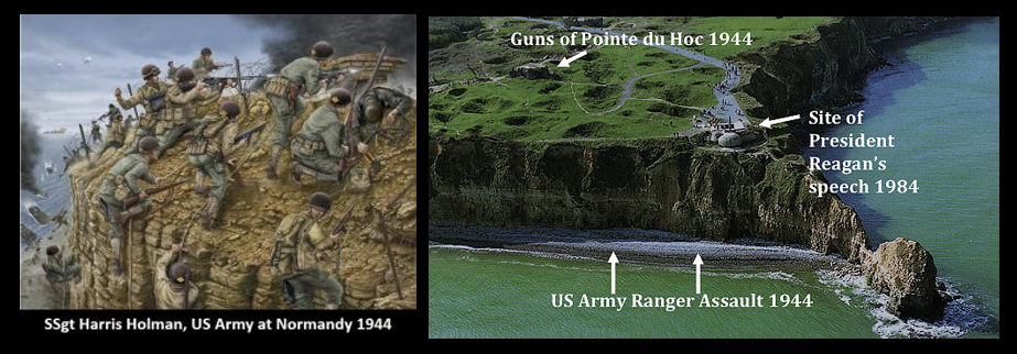 SSG HARRIS HOLMAN: a US Army Ranger who went up the cliffs at Pont du Hoc on Jun 6, 1944