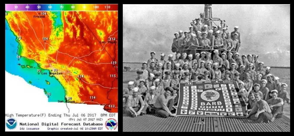 NEWS & COMMENTARY:  historical heat in the western United States & the amazing story of the USS Barb in WW2