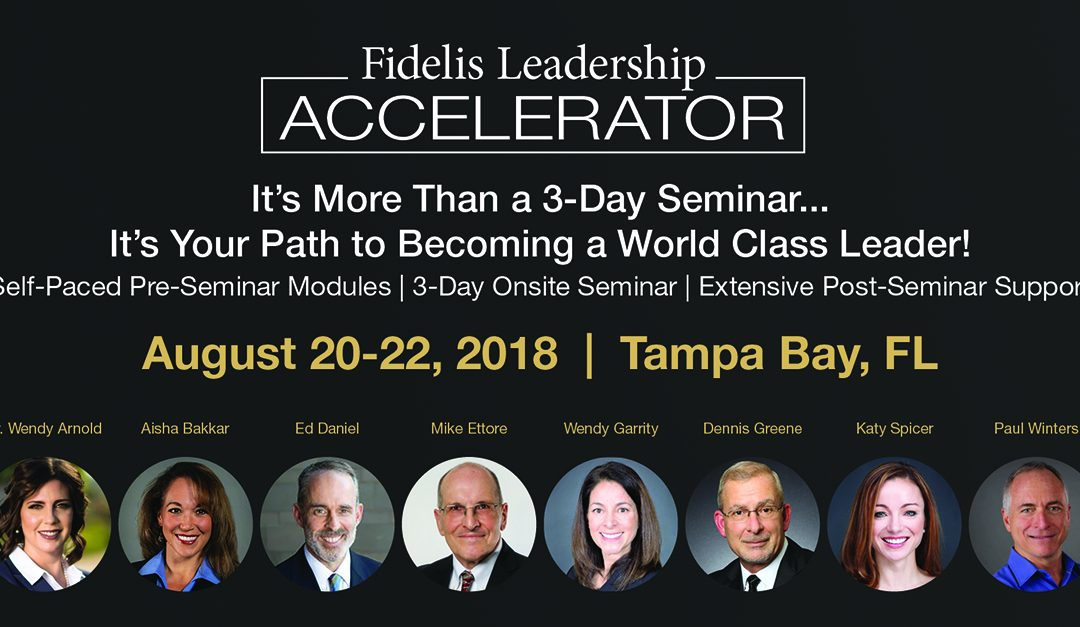 "FIDELIS LEADERSHIP IS TRAINING MILLENIALS TO LEAD YOUR CORPORATION AT THEIR ""ACCELERATOR"":  Mike Ettore"