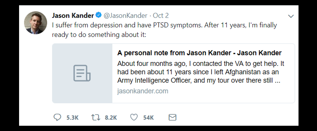 NEWS & COMMENTARY:  Army veteran Jason Kander, leading candidate to be mayor of Kansas City drops out to treat his PTSD