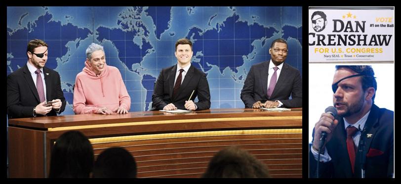 BEHAVING BETTER:  Congressman-elect, Dan Crenshaw, USN (ret) who was mocked a week ago by SNL's Pete Davidson — WELL DONE BOYS