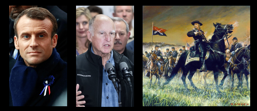 NEWS & COMMENTARY:  Macron is a dope and deserves what he gets, Jerry Brown is another dope & thoughts on LtCol Custer at Little Big Horn