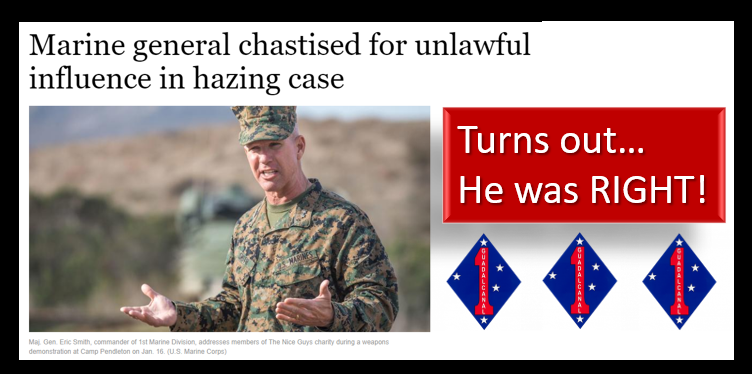 MIKE & MIKE:  LtGen Smith was RIGHT in taking the hardline stance he took last year on hazing while CG of the 1st Marine Division!