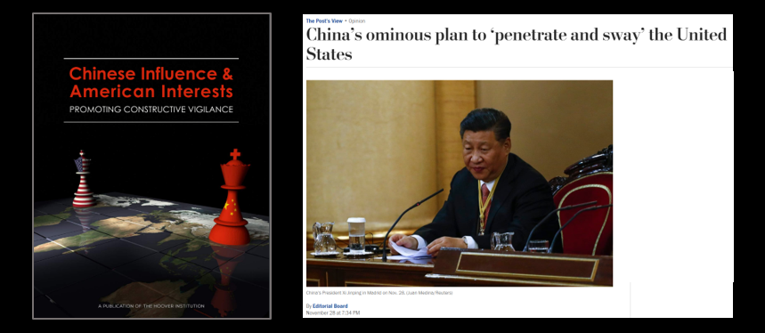 "STANFORD'S HOOVER INSTITUTE & THE WASHINGTON POST AGREE:  ""Constructive Vigilance"" is needed for China's Influence Ops in the US"