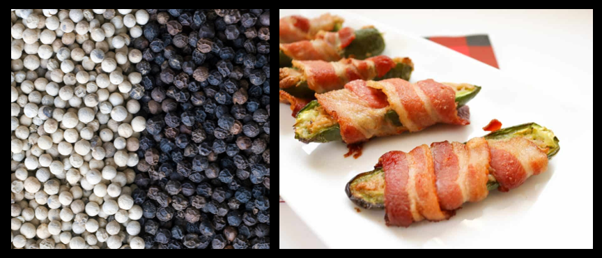 THE CHEF SEZ:  the basics about White Pepper and Black Pepper & Stuffed Jalapenos or Zucchini