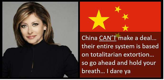 So glad Maria Bartiromo listens to ALL MARINE RADIO!!  The only deal the US will get with China is the one it gets on its knees to make