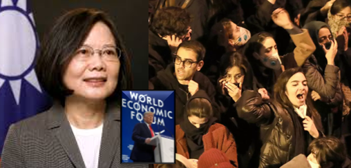 NEWS & COMMENTARY:  reports on Trump at Davos, Taiwan's President talks China & how Iran turn mourning into protests