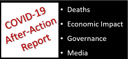 IN THE COVID-19 AFTER-ACTION REPORT, HOW WILL THESE BE GRADED:  fatalities – economic impact – governance – media