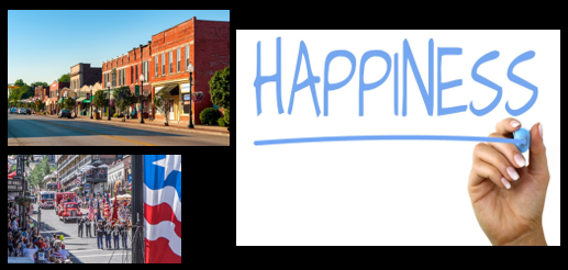 NEWS & COMMENTARY:  life in small town America is better + Is the life you're living making you happy?