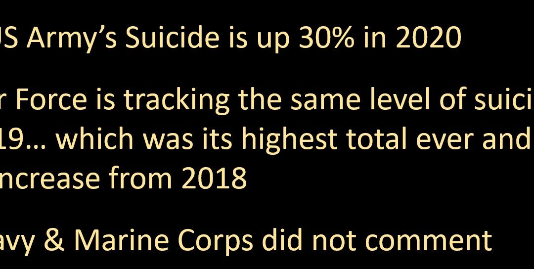 NEWS & COMMENTARY:  the AP reports US Army suicides is up 30%, DOD estimates are up 20% — anybody surprised?  It's ISOLATION