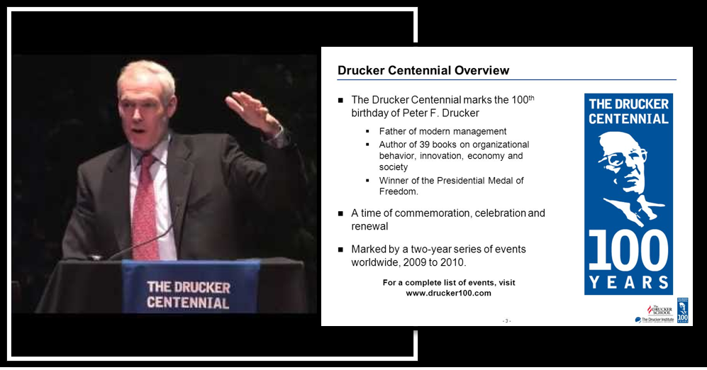 GREAT SPEECHES SERIES:  Jim Collins at Claremont Graduate University's Centennial Celebration of Peter Drucker's birth — worthy of your time