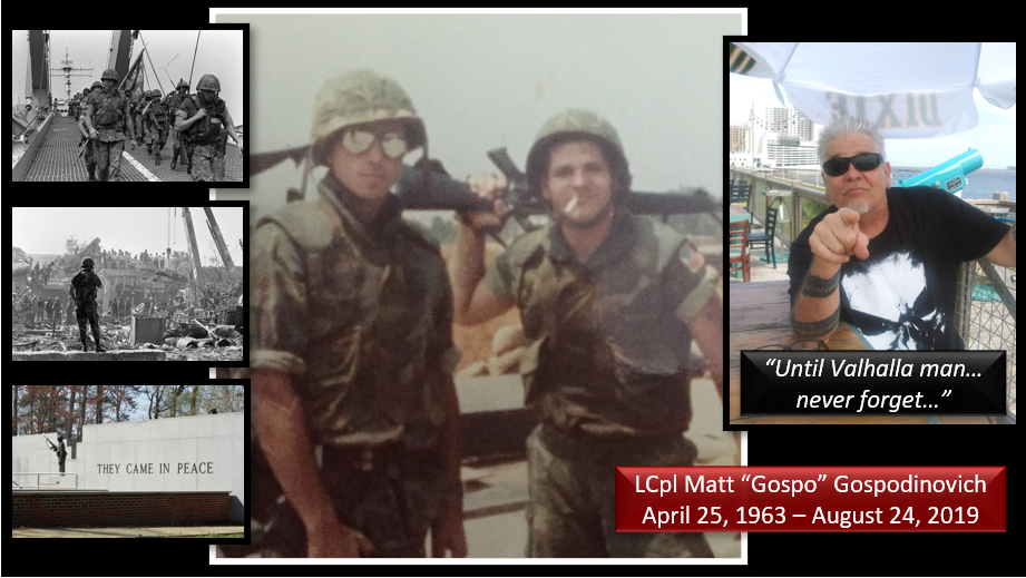 37 Years after an attack on Marines in Beirut left 241 dead — we remember that day through the voice of LCpl Matt Gospodinovich… we miss you Gospo!