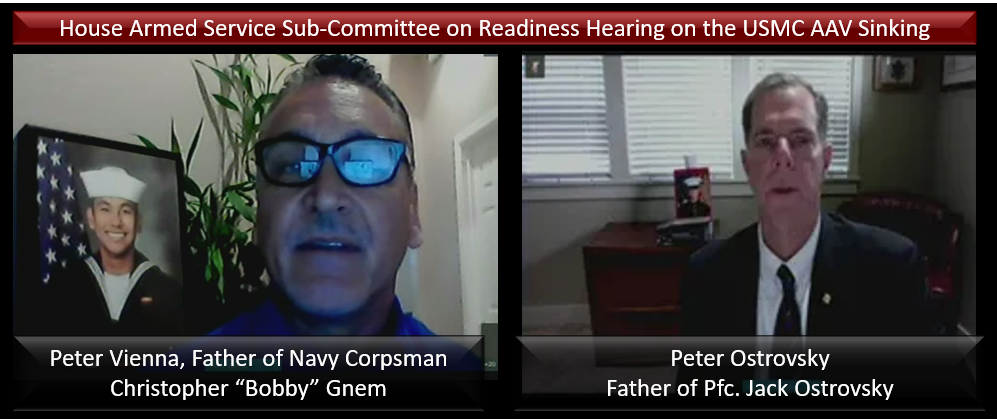 "THE ALL MARINE RADIO HOUR:  Parents Testify before the HASC Sub-Committee on Readiness — Peter Vienna Father of Navy Corpsman Christopher ""Bobby"" Gnem & Peter Ostrovsky Father of Pfc. Jack Ostrovsky — you should listen"