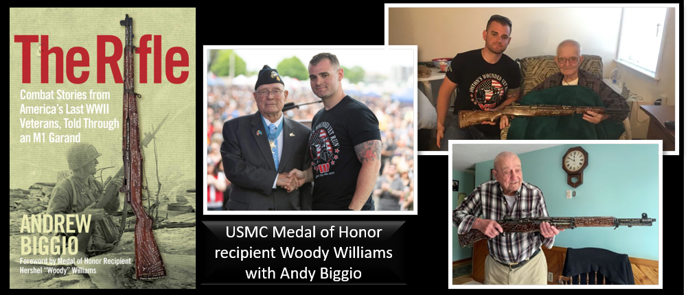 """THE ALL MARINE RADIO BOOK HOUR:  Iraq and Afghan veteran Andy Biggio talks about his incredible book """"The Rifle"""" — about an M1 Garand and the men who carried it in war"""